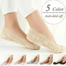 Womens Cotton Blend Lace Antiskid Invisible Low Cut Socks Toe Ankle Sock New