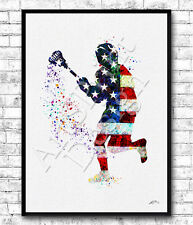 Boy Lacrosse Player Sports Print Flag of the United States Lacrosse Art Poster