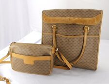 Lot Vintage Authentic GUCCI Monogram Canvas Leather Tote Handbag  w/ Cross-body