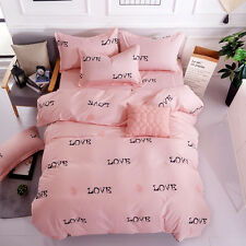 Red Hearts and Love Print Pink Duvet Cover Sets King Queen Full 3Pcs Bedding Set