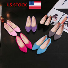 US Womens Ladies Summer Flats Loafers Slip On Single Shallow Ballet Boat Shoes