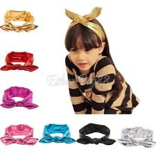 Baby Girls Toddler Baby Stretch Rabbit Ear Turban Knot Bow Hairband Headband New
