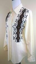 PANHANDLE SLIM Ivory Brown Long Slv Embroidery Studs Cowgirl Western Shirt M EUC
