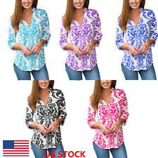 US Women Floral Printed 3/4 Sleeve Loose V Neck Tops Shirt Blouse Tee Pullover