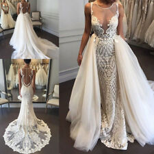 Sleeveless Wedding Dresses White Ivory Bridal Gowns Custom 2017 Detachable Train