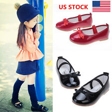 US Kids Girls Casual Bowknot Slip On Ballet Princess Dance Sandals Flats Shoes