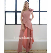 Chiffon One Shoulder Evening Dresses Jackets+ Pants Formal Prom Party Gowns Pink