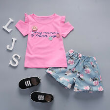 BibiCola Toddler Kids Infant Girls Summer Flower Clothes Set 1-4T