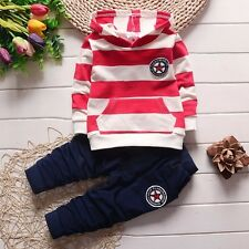 BibiCola Toddler Kids Infant Boys Girls Hoodies Striped Tops+Pants Suits 1-4T