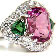 4.4CT Rose Red Sapphire&Emerald 925 Silver Wedding Cocktail Ring Size 6-10