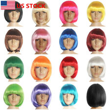 US Women Lady BOB Short Straight Party Wig Dress Cosplay Full Costume Wigs Hair