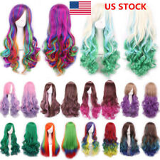 US Women Ladies Long Hair Wig Curly Wavy Synthetic Anime Cosplay Party Full Wigs
