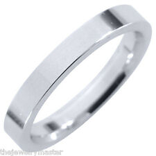 MENS WEDDING BAND ENGAGEMENT RING WHITE GOLD COMFORT FIT GLOSS FINISH 3mm