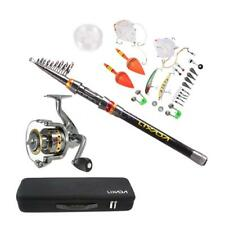 Portable Fishing Rod Reel Set Telescopic Combo Reel And Pole Saltwater Kit D3E6