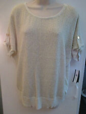 NWT Misses Size L or XL Knit Top by AB Studio, Off White with Gold Metallic