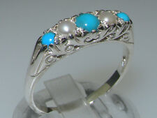 925 Sterling Silver Natural Turquoise & Pearl Womens Band Ring - Sizes J to Z