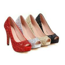 Womens Peep Toes Shoes High Heels Pumps Sandals Glitter Wedding Dress Plus Size