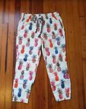 NEW WOMEN'S J CREW SEASIDE PULL ON PANTS IN WHITE RATTI PAINTED PINEAPPLES