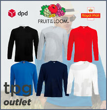 Fruit Of The Loom Mens Long Sleeve T Shirt Plain T-Shirt Cotton Tee Shirt Lot