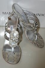 $1485 New MANOLO BLAHNIK Rittan JEWELED Silver SNAKE Thong SANDALS SHOES 40.5