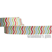 """7/8""""22mm Wave Lineup grosgrain ribbon 5/10/50/100 yards hairbow Wholesale"""