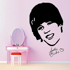 Justin Bieber Portrait vinyl wall art girls bedroom music sticker room decal
