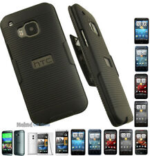 BLACK RIBBED RUBBERIZED HARD CASE COVER + BELT CLIP HOLSTER STAND FOR HTC PHONE