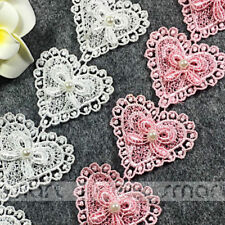 2 Yard White Pink Polyester Pearl Lace Trim Heart Embroidery Ribbon Sewing Craft
