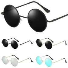 Polarized Vintage Retro Men Women Round Metal Frame Sunglasses Black Eyewear