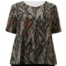 A Personal Touch Women's Plus Size Earth Tones Abstract Top