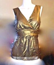 NWT Ann Taylor Lined Bronze Crossover Self Tie Shell Top Blouse  $60 Metallic