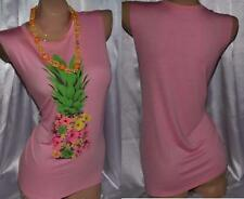 COLOR BEAR Pink Floral Pineapple sleeveless Stretchy Summer Top Sz S M NWOT