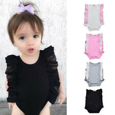 Newborn Baby Girl Summer Romper Ruffled Bodysuit Toddler Jumpsuit Playsuit 0-24M