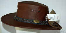 JACARU NEW Australian ROO NOMAD Traveller LEATHER HAT 1111 crushable Brown Unisx