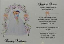 Personalised Wedding Evening Reception White Invite Flower Bow Design Invitation