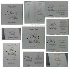 White Personalised Invite Our Wedding And Heart Design Invitation Complete Range