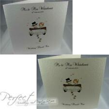Personalised White Or Ivory Wedding Thank You Cards Sidefold Couple In Car