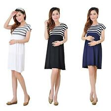 Pretty Stripe Pregnant Women Dress Short Sleeve Cotton Loose Casual Maternity