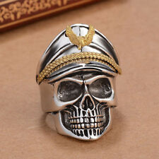 Cool Men Army Officer Eagle Cap Skull Wide Band Ring Vintage Punk Convenient