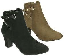 LADIES BLACK HIGH HEEL PIXIE SUEDE PULL ON ZIP ANKLE BOOTS SHOES