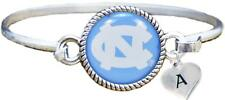 Custom North Carolina Tar Heels Silver Bangle Bracelet Choose Initial Charm UNC