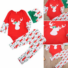 New Christmas Kids Baby Boys Girls Reindeer Nightwear Sleepwear Pajamas set 1-2Y