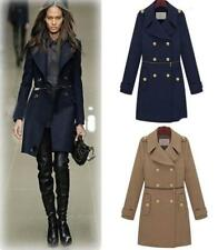 Womens Slim Double breasted Long Jacket Woolen Lapel Collar Trench Military Coat