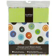 Kushies Change Pad Fitted Sheet with Slits for Safety Straps | 100% Cotton