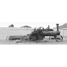 Photography Wall Art Canvas Print Ready To hang Vintage Train Tractor, B&W (long