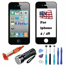 Black Front Screen Lens Replacement Glass UV Light Glue Tools For iPhone 4 4S