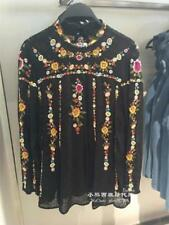 Womens Black Chiffon Flower Embroidery Stand Collar Long Sleeve Tops Blouse Chic