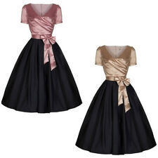 Womens 1950's Vintage Color Block Rockabilly Swing Cocktail Party Evening Dress
