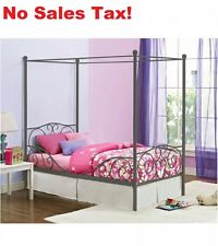 Canopy Twin Bed Metal Kids Bedroom Furniture Pink White Pewter Heart Scroll New