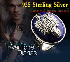 Vampire Diaries Damon 925 Sterling Silver Ring Salvatore Crest Lapis Lazuil
